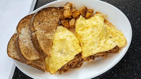 best pulled pork omelette in Portsmouth nh